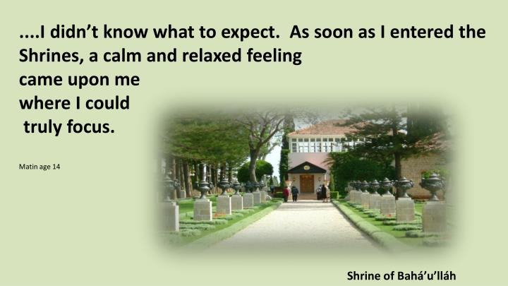 ....I didn't know what to expect.  As soon as I entered the Shrines, a calm and relaxed feeling