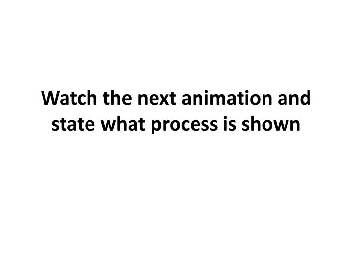 Watch the next animation and state what process is shown