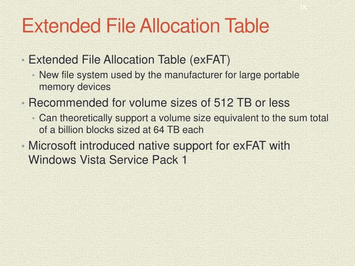 Extended File Allocation Table