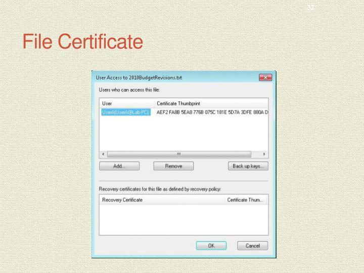 File Certificate