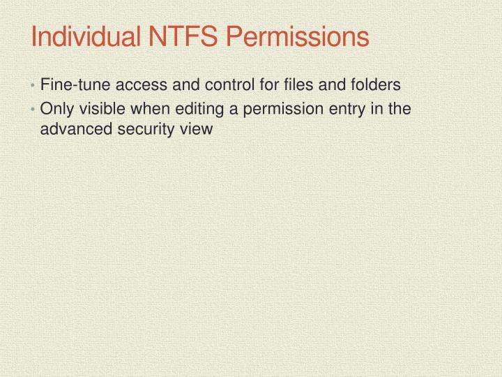 Individual NTFS Permissions
