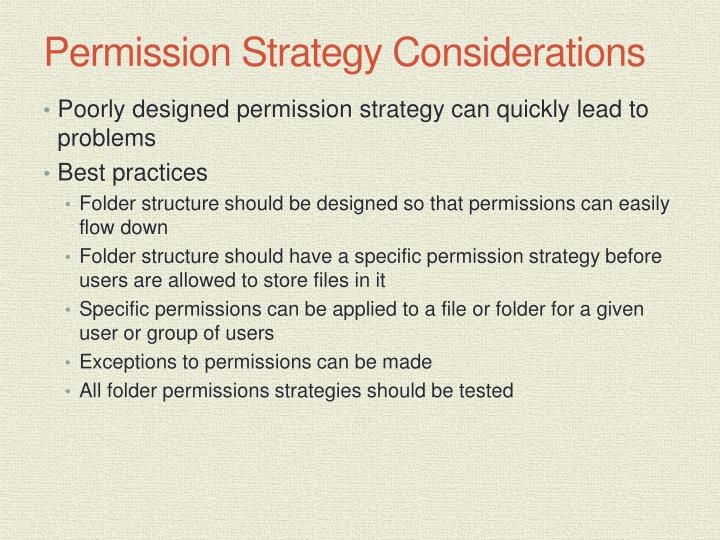 Permission Strategy Considerations