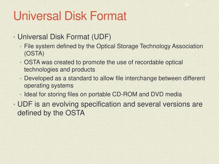 Universal Disk Format