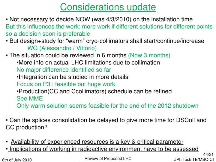Considerations update