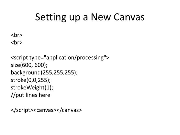 Setting up a New Canvas
