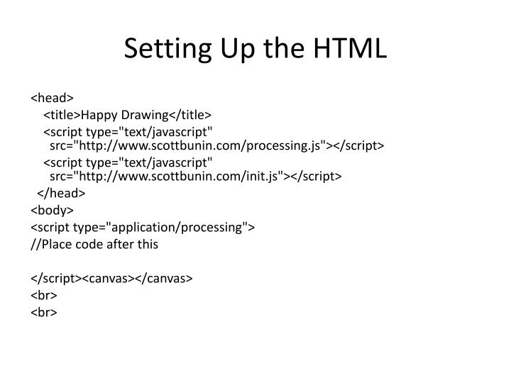 Setting Up the HTML