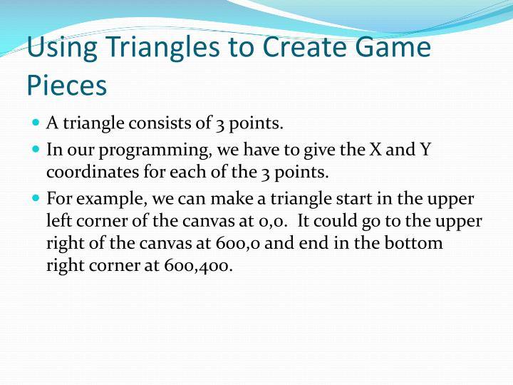 Using Triangles to Create Game Pieces