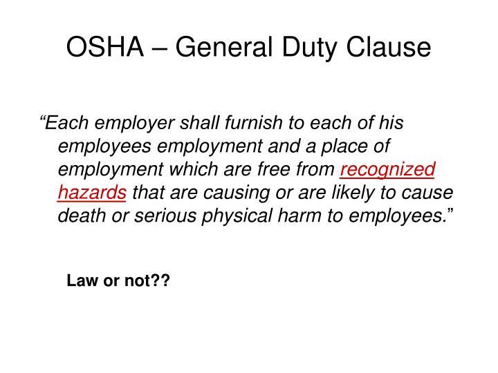 OSHA – General Duty Clause