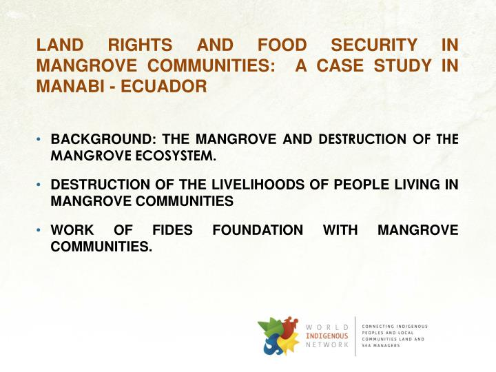 LAND RIGHTS AND FOOD SECURITY IN MANGROVE COMMUNITIES:  A CASE STUDY IN MANABI - ECUADOR