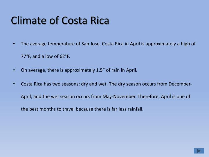 Climate of costa rica