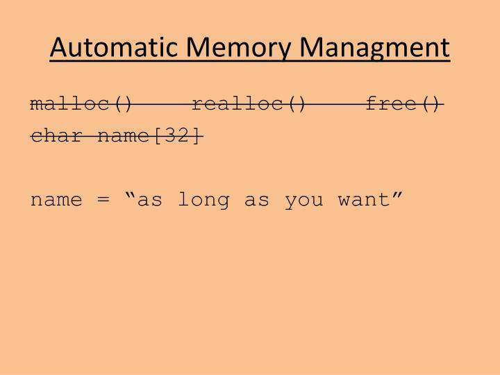Automatic Memory Managment
