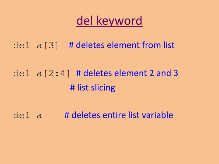 del keyword