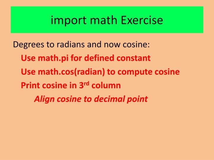 import math Exercise