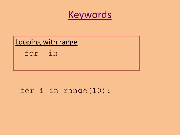 Looping with range