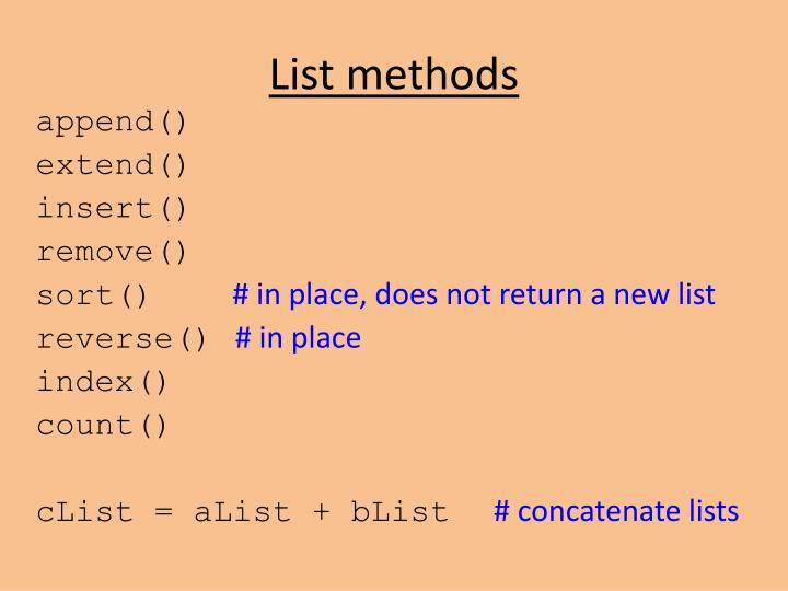 List methods