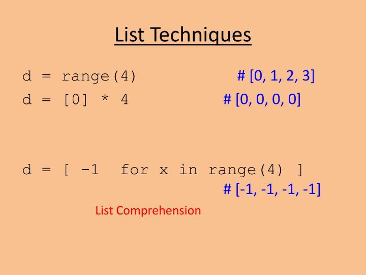 List Techniques