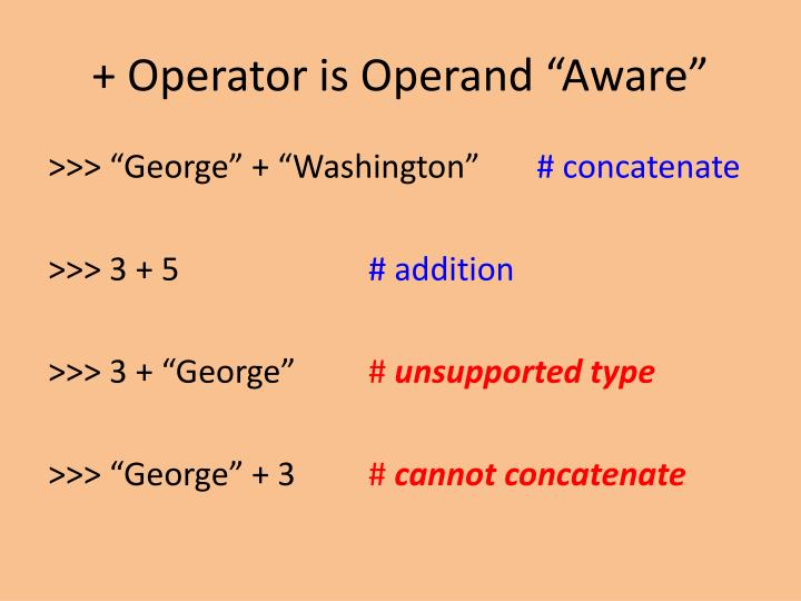 "+ Operator is Operand ""Aware"""