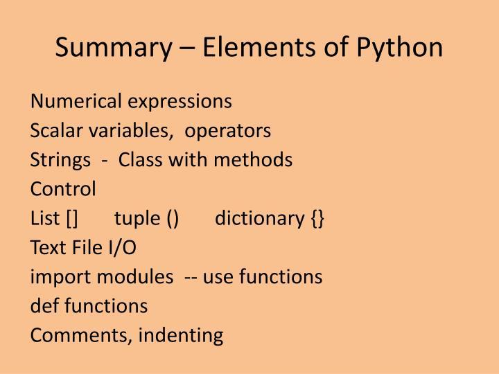 Summary – Elements of Python