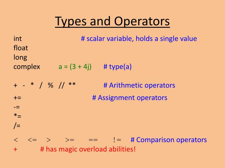 Types and Operators