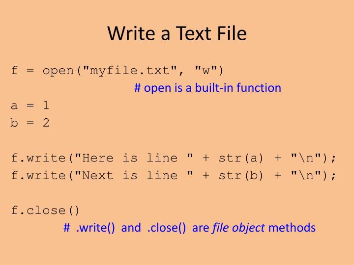 Write a Text File