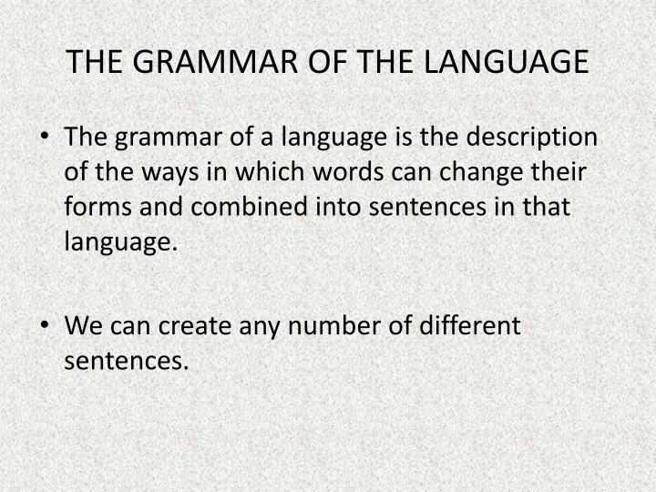 THE GRAMMAR OF THE LANGUAGE