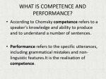 what is competence and performance