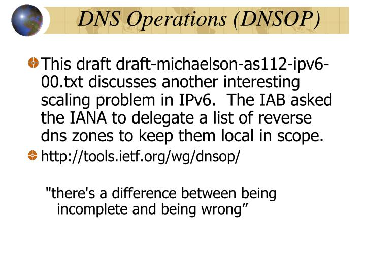 DNS Operations (DNSOP)‏