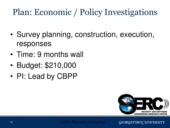 Plan: Economic / Policy Investigations