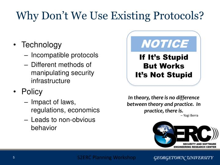 Why Don't We Use Existing Protocols?