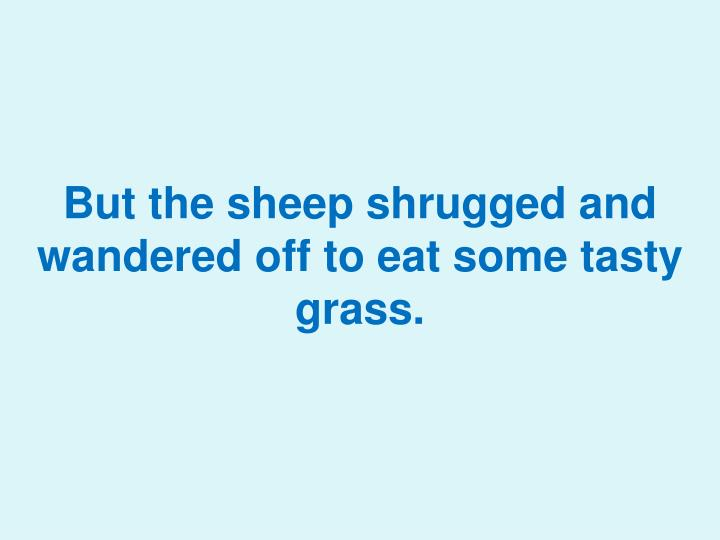 But the sheep shrugged and wandered off to eat som