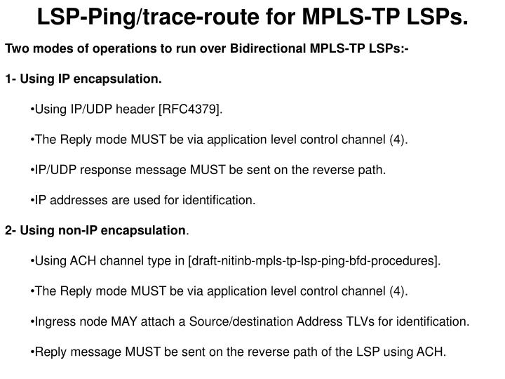 LSP-Ping/trace-route for MPLS-TP LSPs.