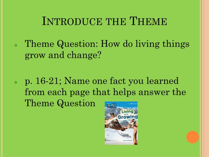 Introduce the Theme