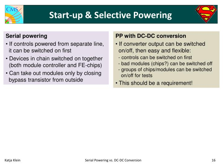 Start-up & Selective Powering