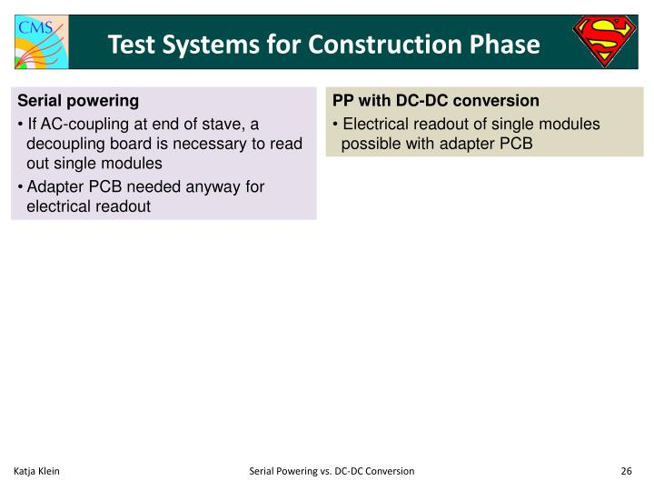 Test Systems for Construction Phase