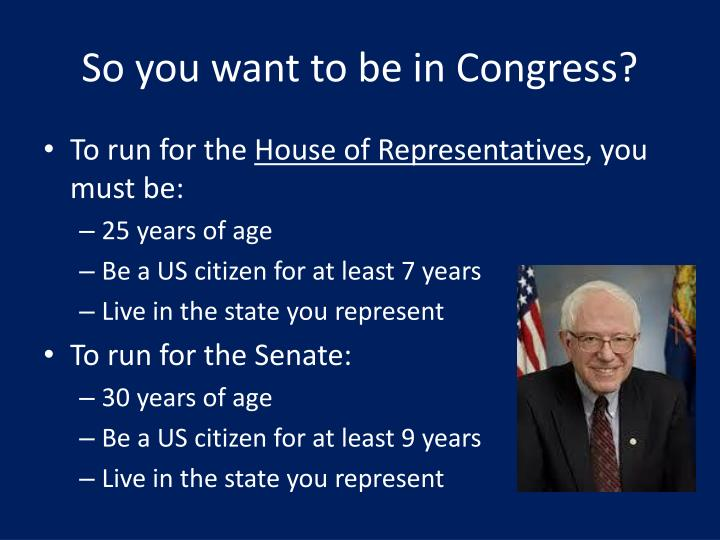 So you want to be in Congress?