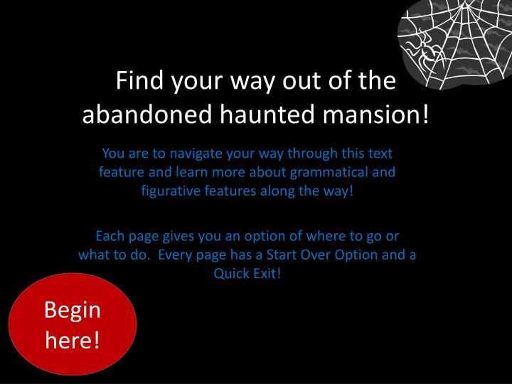 Find your way out of the abandoned haunted mansion