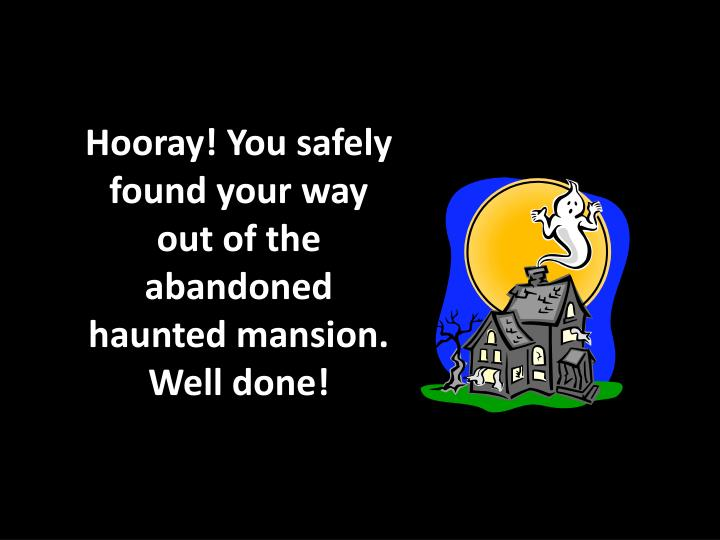 Hooray! You safely found your way
