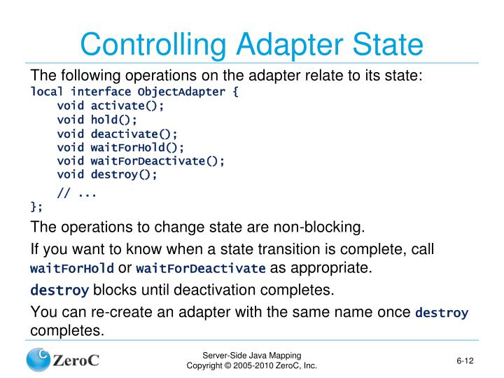 Controlling Adapter State