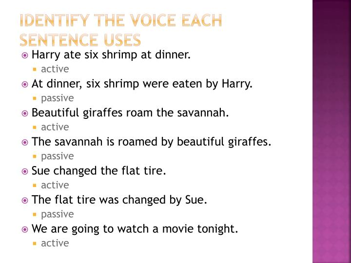 Identify the Voice Each Sentence Uses