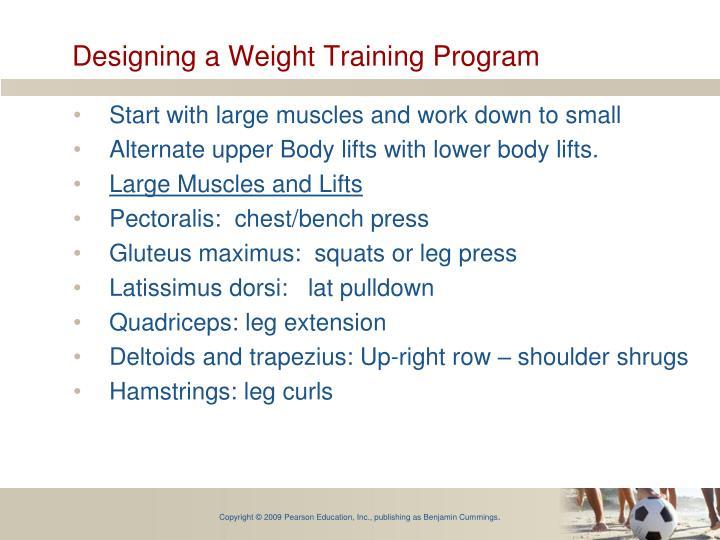 Designing a Weight Training Program