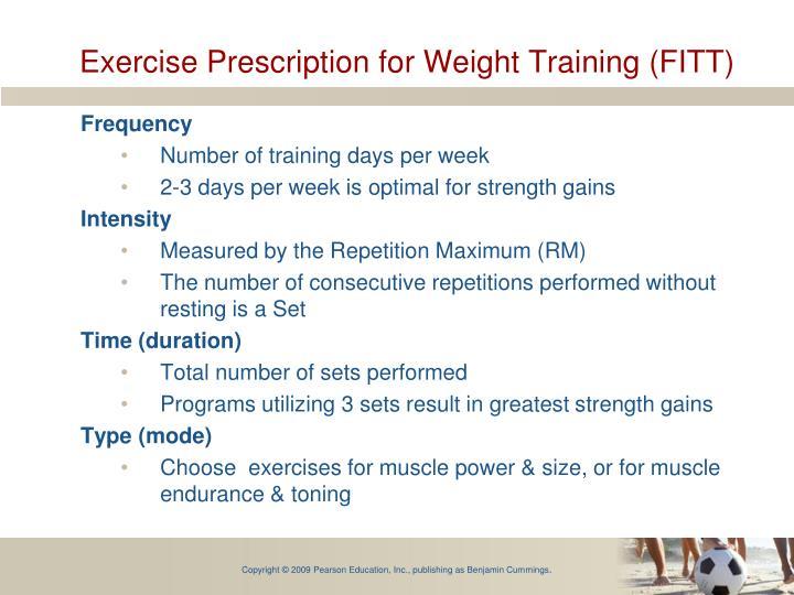 Exercise Prescription for Weight Training (FITT)