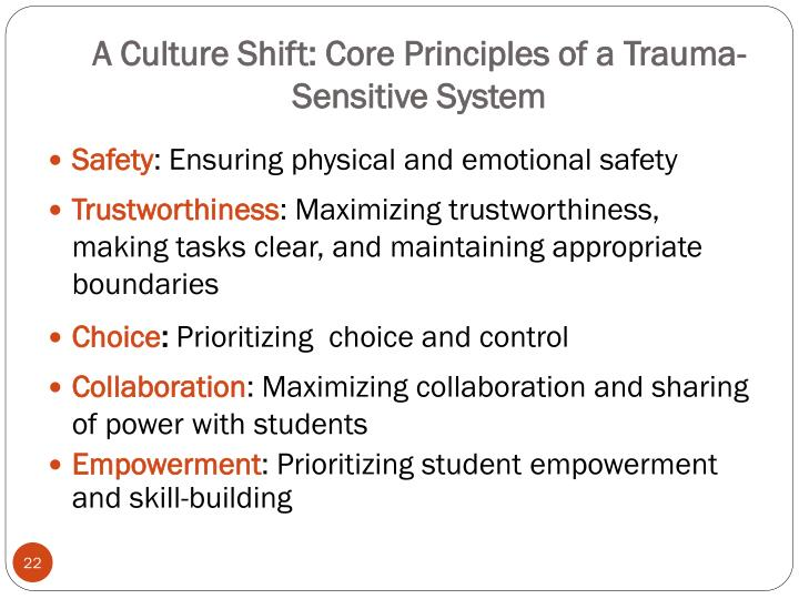 A Culture Shift: Core Principles of a Trauma-     Sensitive System