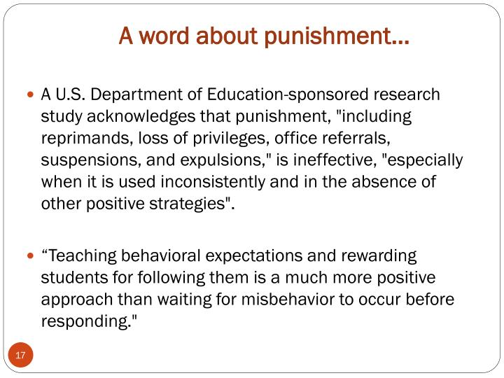 A word about punishment…