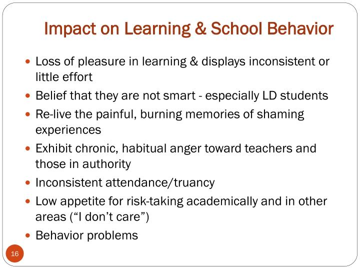 Impact on Learning & School Behavior