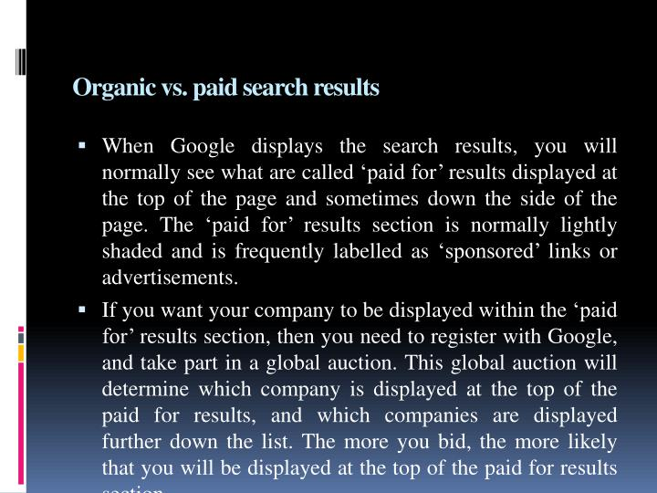 Organic vs. paid search results