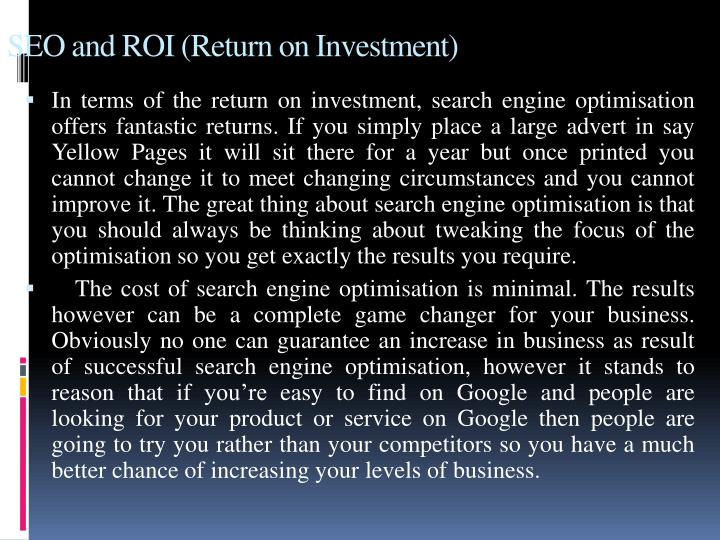 SEO and ROI (Return on Investment)
