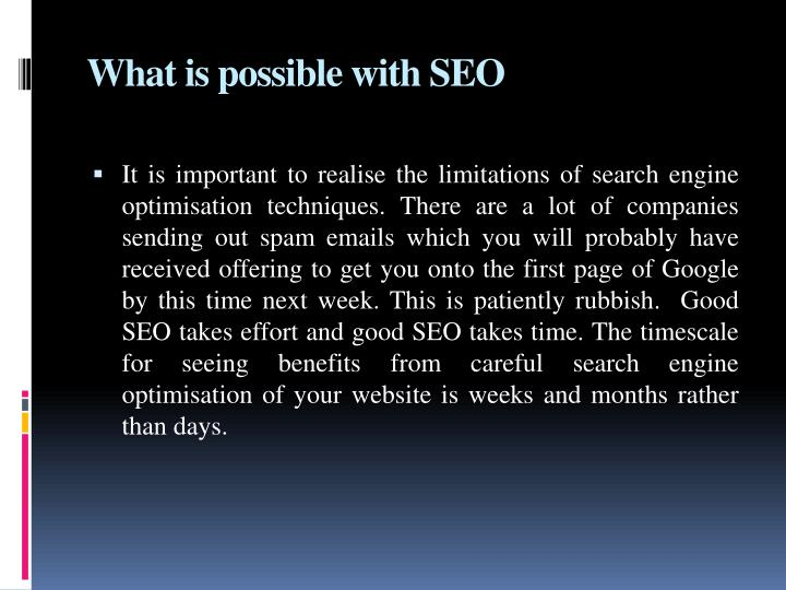 What is possible with SEO