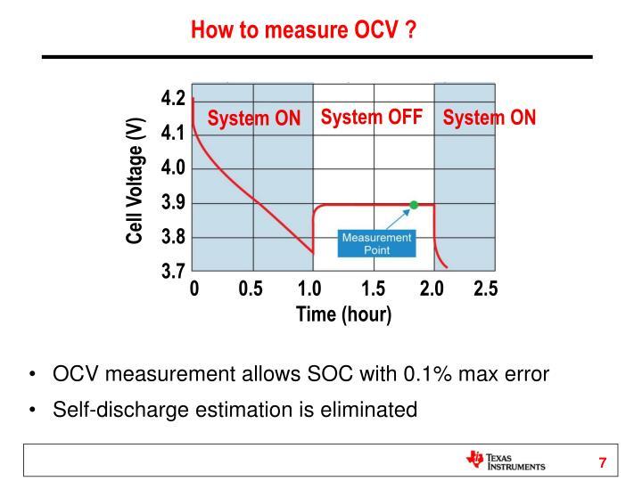 How to measure OCV ?