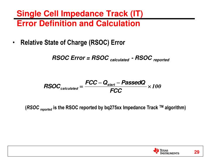 Single Cell Impedance Track (IT)