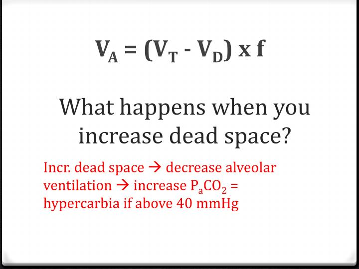 What happens when you increase dead space?